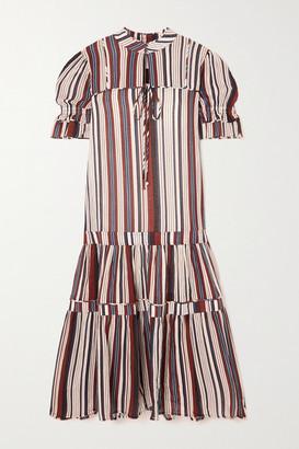 Apiece Apart Los Altos Tiered Striped Cotton-crepe Midi Dress - Navy