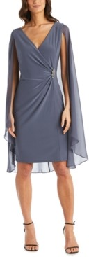 R & M Richards Embellished Chiffon Cape Dress