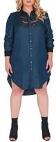 Plus Size Women's Standards & Practices Felicity Lace Trim Denim Shirtdress