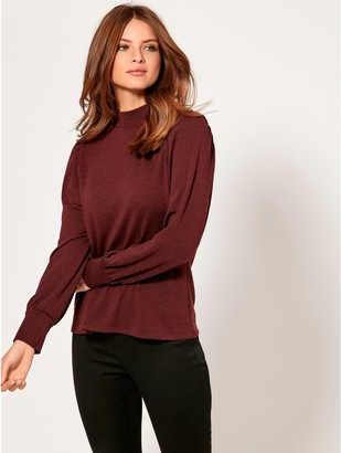 M&Co Petite puff sleeve high neck top