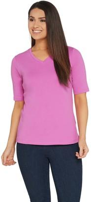 Denim & Co. Essentials V-Neck Elbow-Sleeve Rib Knit Top