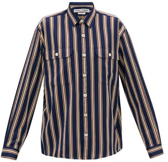 Schnaydermans Schnayderman's - Jacquard-striped Twill Shirt - Mens - Navy Multi