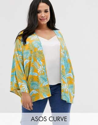 Asos DESIGN Curve palm print kimono-Multi