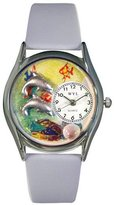 Whimsical Watches Women's S0140007 Dolphin Navy Light Blue Leather Watch