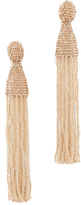 Oscar de la Renta Long Beaded Tassel Clip On Earrings