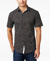 Alfani Men's Big & Tall Slim Contrast-Trim Dash-Print Short-Sleeve Shirt, Only at Macy's