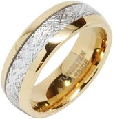 100S JEWELRY 8mm Mens Tungsten Carbide Ring Imitated Meteorite Inlay 14k Gold Plated Jewelry Wedding Band Size 5-16 ... (11.5)