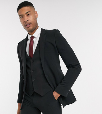 ASOS DESIGN Tall super skinny suit jacket in four way stretch in black
