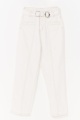Nasty Gal Womens Don't Tell Mom High-Waisted Buckle Jeans - Cream - 14
