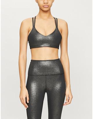 Beyond Yoga Twinkle metallic stretch-jersey bra