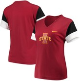 Nike Women's Crimson/Black Iowa State Cyclones Breathe Team Sleeve Performance V-Neck T-Shirt