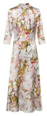 HUGO BOSS Marble-print midi dress with twisted neckline