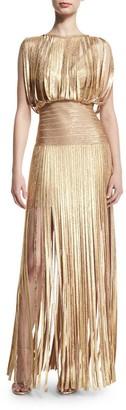 HLBCBG Long Women's Bandage Bodycon Dress Party Cocktail Dress 2407 (L) Gold