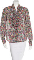 Derek Lam 10 Crosby Floral Print Long Sleeve Blouse