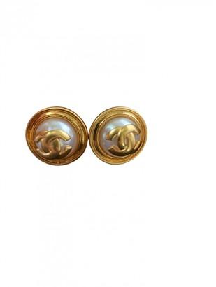 Chanel CC Beige Metal Earrings