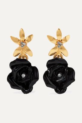 Oscar De La Renta Oscar de la Renta - Gold-tone, Resin And Crystal Earrings