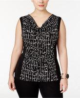 Calvin Klein Plus Size Printed Cowl-Neck Shell