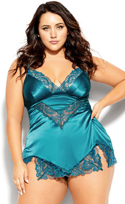City Chic Abby Babydoll - teal