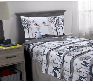 Disney Frozen Disney's Frozen 2 Olaf Kids Flannel 3-Piece Twin Sheet Set, Twill Forest