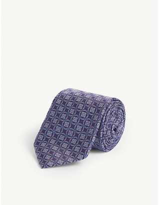 Eton Circled square-print silk tie