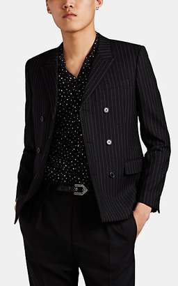 Saint Laurent Men's Pinstriped Wool Double-Breasted Sportcoat - Black