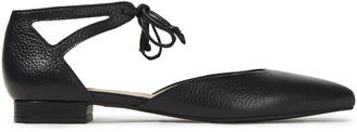 French Sole Penelope Cutout Textured-leather Point-toe Flats
