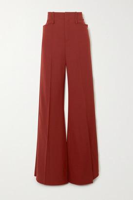 Chloé Grain De Poudre Wool-blend Wide-leg Pants - Burgundy