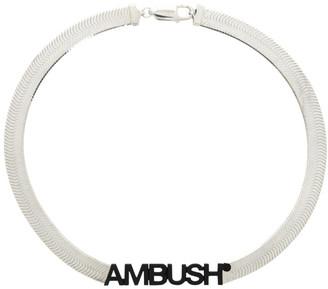 Ambush Silver Logo Herringbone Necklace