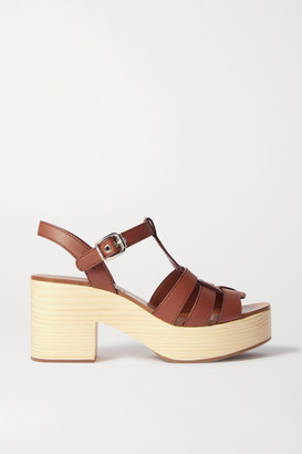 Miu Miu Leather Platform Sandals - Tan
