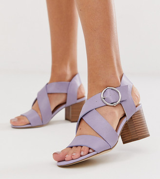 New Look PU block heeled sandal in lilac