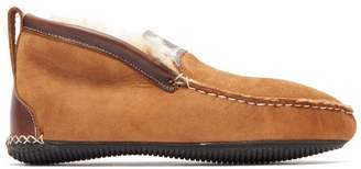 Quoddy Dorm Shearling Lined Suede Slippers - Mens - Brown