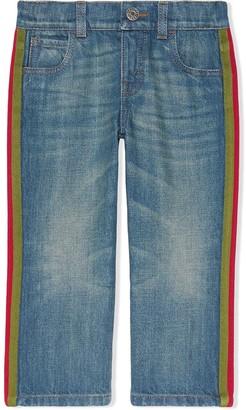 Gucci Kids Children's denim trousers with Web