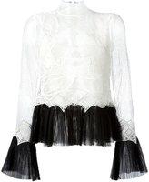 Jonathan Simkhai Dome lace pleated hem top - women - Nylon/Polyimide/Silk/Rayon - XXXS