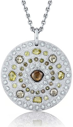 De Beers White Gold Talisman Large Medallion Necklace