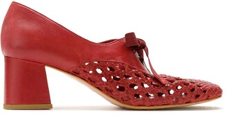 Sarah Chofakian Romance woven lace-up pumps