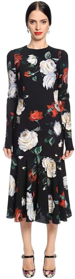 Dolce & Gabbana Roses Printed Cady Dress