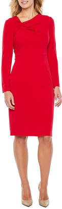 Liz Claiborne Long Sleeve Twist Neck Sheath Dress