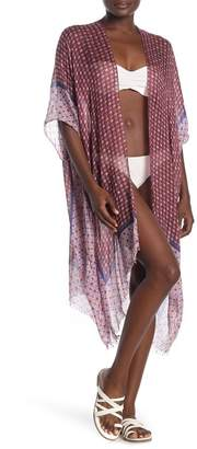 Pool' POOL TO PARTY Printed Kimono Cover-Up