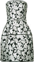 Oscar de la Renta metallic flowers strapless dress