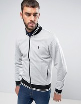 Polo Ralph Lauren Bomber Jacket With Tipped Edging In Grey
