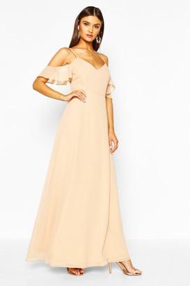 boohoo Chiffon Strappy Cold Shoulder Maxi Bridesmaid Dress