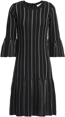 MICHAEL Michael Kors Fluted Metallic Striped Knitted Dress