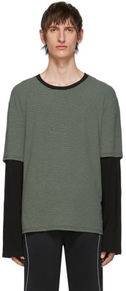 all in SSENSE Exclusive Grey and Black Striped Long Sleeve T-Shirt