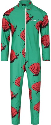 Mini Rodini Green Suit For Girl With Shells