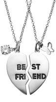 "Journee Collection Cubic Zirconia Sterling Silver ""Best Friends"" Heart Pendant Necklace Set"