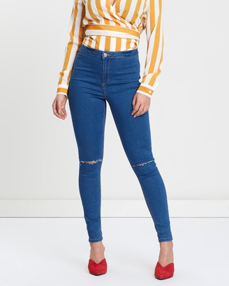 Missguided Vice High-Waisted Knee Slash Jeans