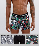 Jack and Jones Trunks 3 Pack With Skull Print