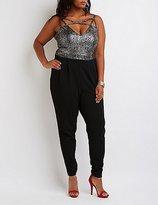 Charlotte Russe Plus Size Caged Metallic Combo Jumpsuit