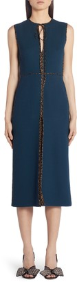 Fendi Logo Trim Wool Crepe Midi Dress