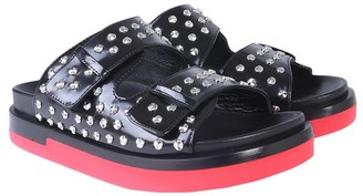 Alexander McQueen Black Studded Leather Flatform Sandals w/Red Trompe l'oeil Sole